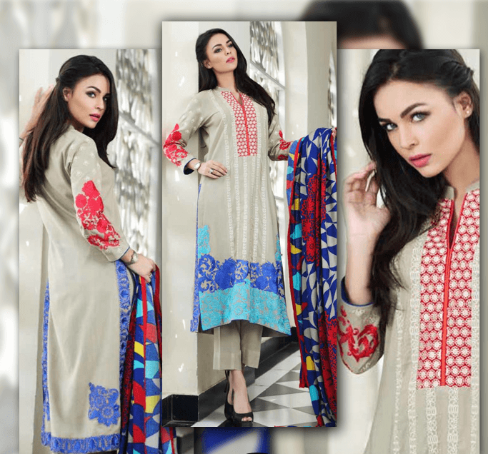Blue Embroidered Linen Suit with Pashmina Shawl - Fall/Winter collection