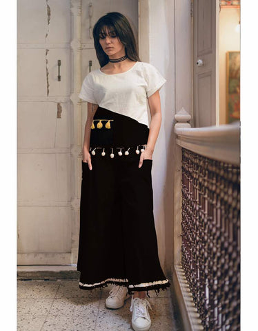Clemonte Boho vibes :  Monochrome  tassel top with black palazzo pants