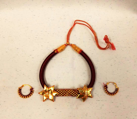 Supushp Indo Western Gota Patti Threaded Sets - red gold