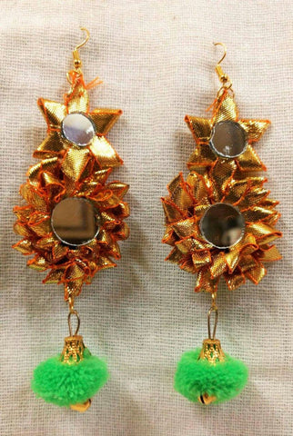 Supushp Floral mirror gota dangler earrings with lime green pompom
