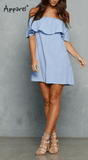 Clemonte Meisha collection - Off shoulder blue ruffle dress