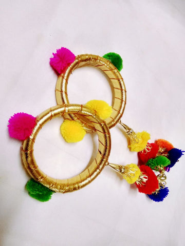 Supushp golden gota bangles with multicolor latkan -set of 2