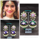 Sonam Kapoor veerey di wedding Traditional meenakari jhumka earrings