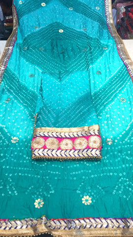 Clemonte Rewaaz bandhej suit with gota border - sky blue