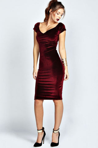 Clemonte Velvet Sheath dress, wine red
