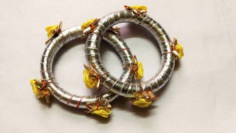 Supushp silver gota bangles with yellow roses -set of 2
