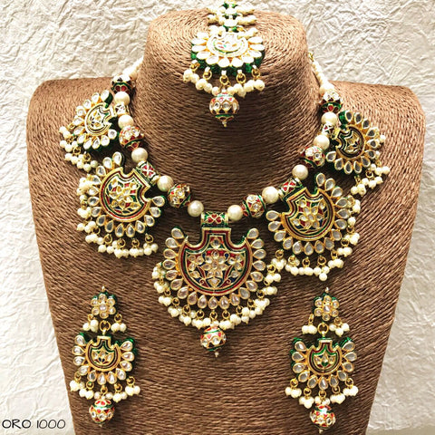 Padmavati  Deepika Padukone Jewellery - Ranisa Green meenakari kundan necklace set with chandbali earrings