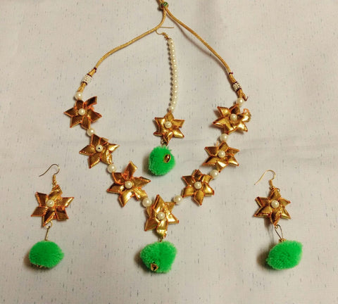 Supushp mint green gota jewellery set