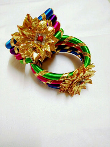Supushp multicolor golden gota bangles -set of 2