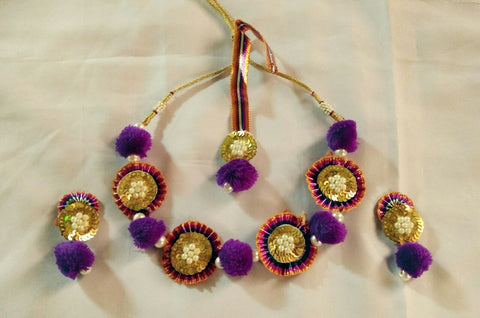 Supushp purple gold gota jewellery set