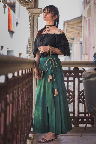 Clemonte Boho vibes : Off shoulder black top with emerald green palazzo pants