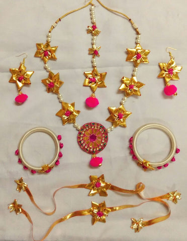 Supushp Gota Patti full bridal Sets - floral pink gold