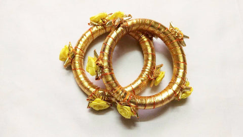 Supushp golden gota bangles yellow rose -set of 2