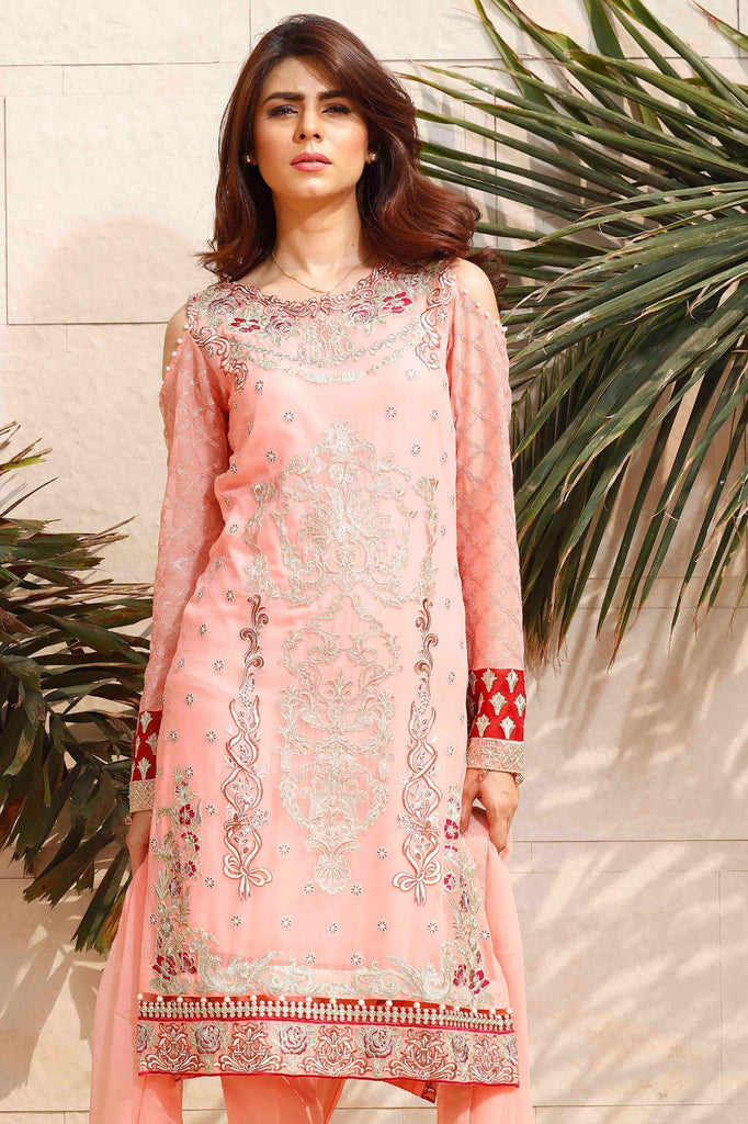 Baroque Fuchsia Chiffon Collection designer suit - blush pink