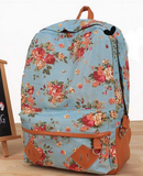 Clemonte Floral Printed Canvas Backpack - blue