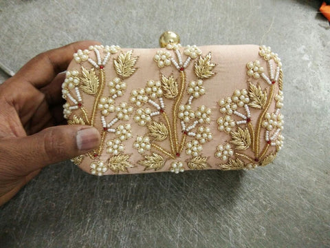 Clemonte peach beaded Zardozi clutch