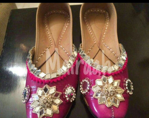 Golden Pink juttis with mirror work
