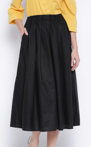 Clemonte laser cut midi skirt with pocket