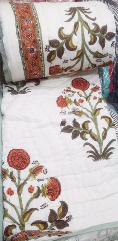 Cream Block print cotton bedsheet and quilt Floral Motif -The Autumn Garden - Orange