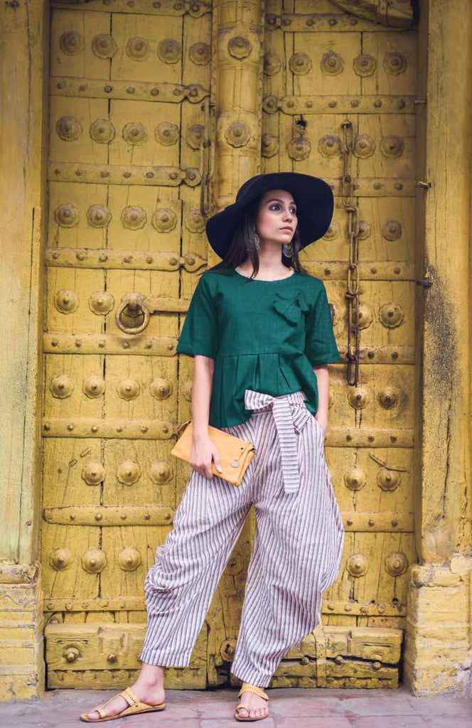 Clemonte Boho vibes :  Emerald Green solid top with pinstripe grey khadi linen pants - set of two