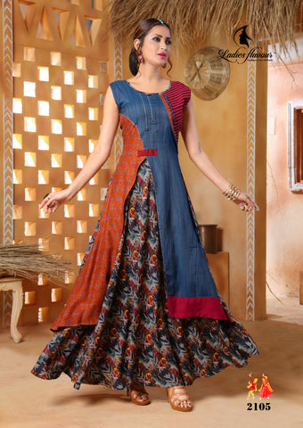 Pehnava long kurta gown - Multicolor Blue