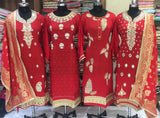 Beautiful Red gota designer suit unstitched for Karva Chauth