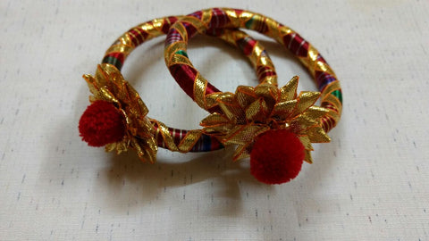 Supushp floral golden red gota bangles -set of 2