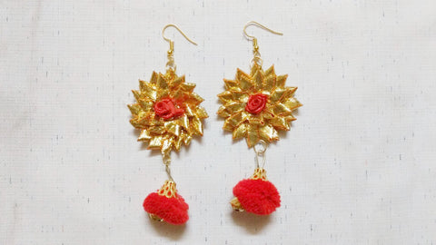 Supushp Floral red rose gota earrings with red pompom
