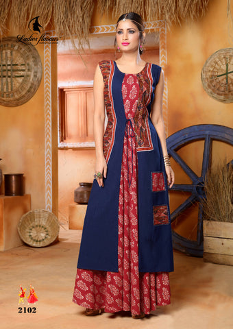 Pehnava long kurta gown - Red Blue