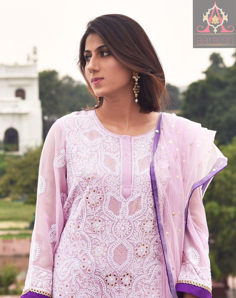 Aaraish Pure Georgette chikankari and mukaish straight suit set - pink