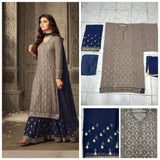 Riwaaz Embroidered grey suit with sharara