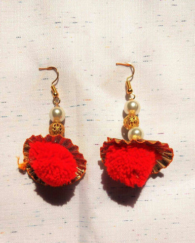 Supushp  red pompom gota dangler earrings