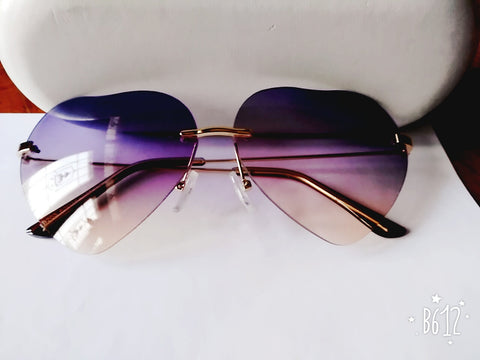 dee1387282 Clemonte rainbow two-color rimless heart sunglasses for women - Purple grey