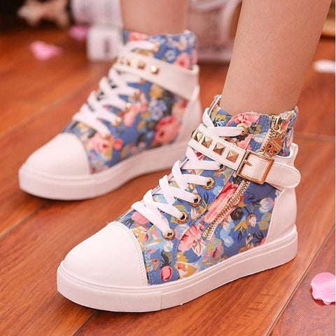 Clemonte Floral Blue High Rise Sneakers