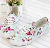 Clemonte Blue Floral canvas shoes loafers sneakers