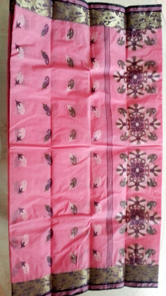 Bengal Taant saree : Light pink