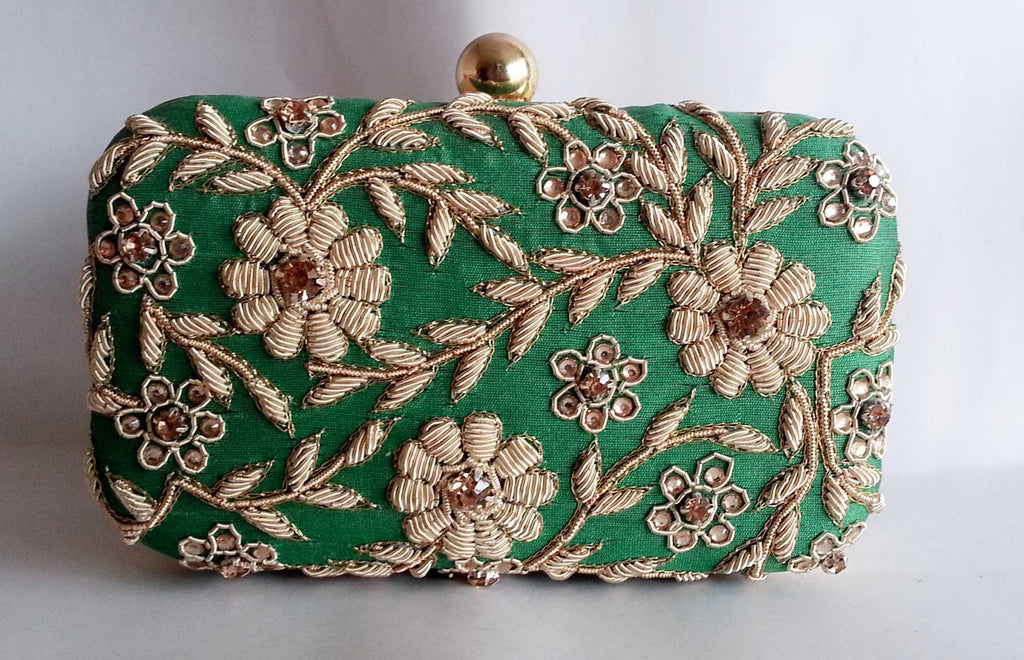 Clemonte Dark Green Zardozi clutch