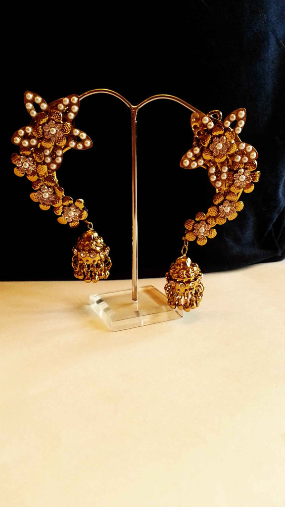 Clemonte Arya Floral gold earcuffs with jadau pearls and small jhumki earrings