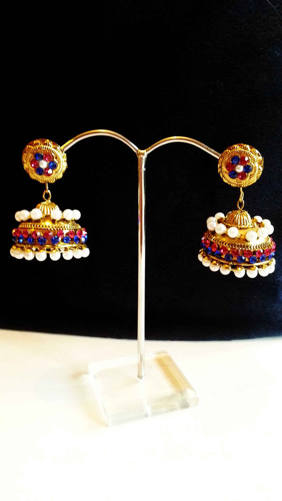 Clemonte Arya Gold jhumki earrings with blue pink stones and pearls