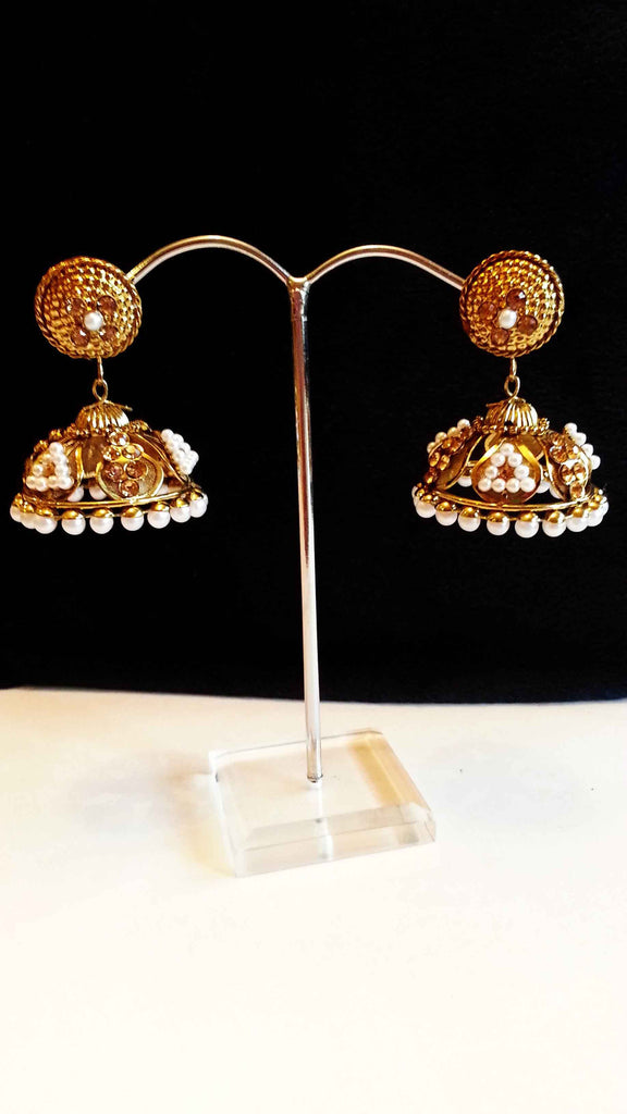 Clemonte Arya Gold jhumki earrings with jadau pearls