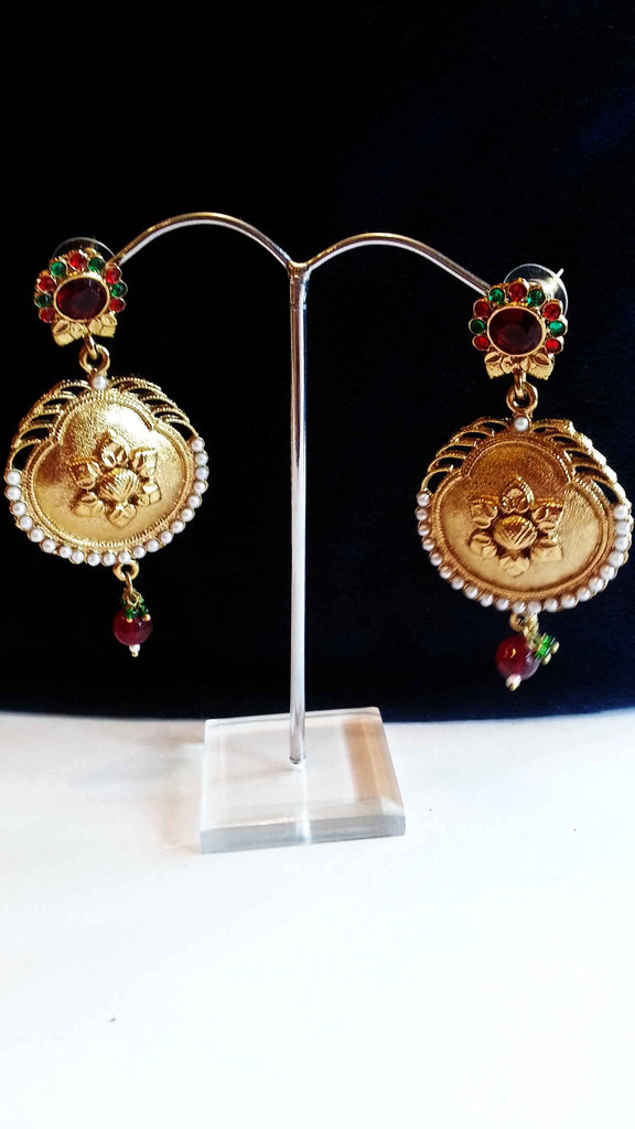 Clemonte Arya Gold flower earrings with red  green stones and pearls