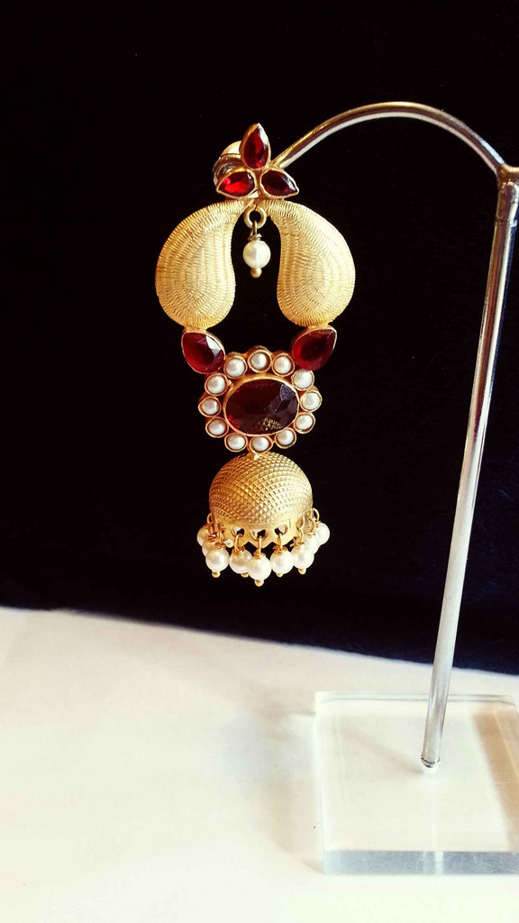 Clemonte Arya Gold drop jhumki earrings with red ruby stones and pearls