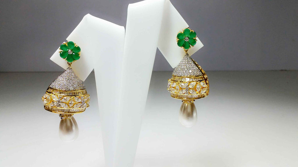Clemonte Myrah Gold Jhumka earrings with diamonds and pearl drop : emerald green