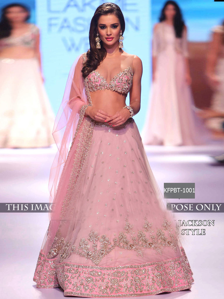 Amy Jackson Pink Nylon Net Bollywood Lehenga Choli