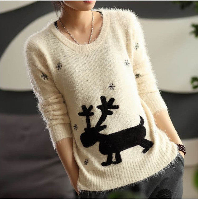 Christmas gift sweater winter mohair pullover reindeer sweater