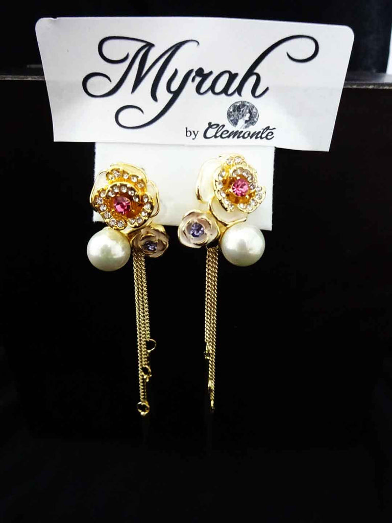 Clemonte Myrah Pink rose with pearl earrings