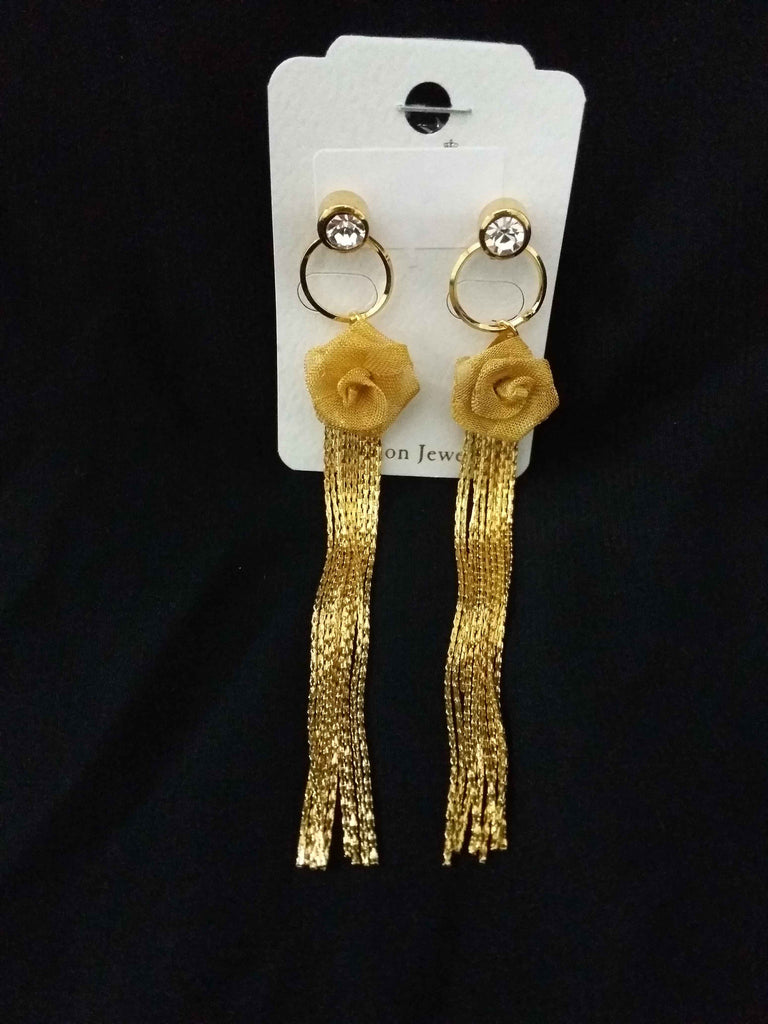 Clemonte Myrah Jewels Gold Plated Rose tassel earrings