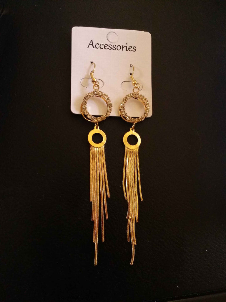 Clemonte Myrah  gold tassel drop round earrings