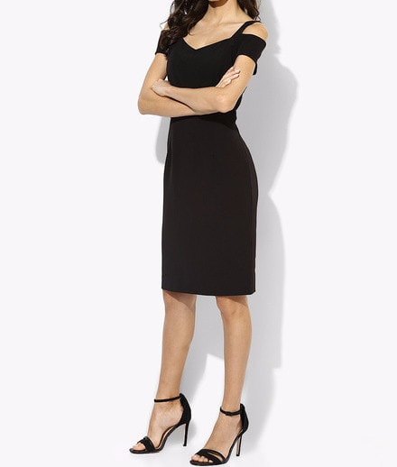 Clemonte Meisha collection - Black Bardot Pencil Dress