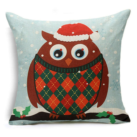 Christmas cushion cover - home decoration - Owl santa